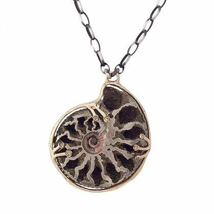 Ammonite Fossil Diamond Statement Necklace - Curated Los Angeles