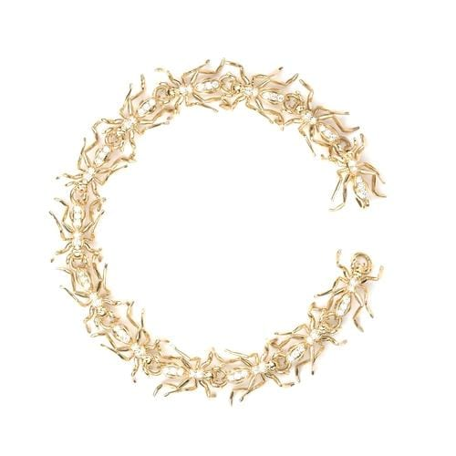 Trail of Ants Diamond Yellow Gold Bracelet - Curated Los Angeles