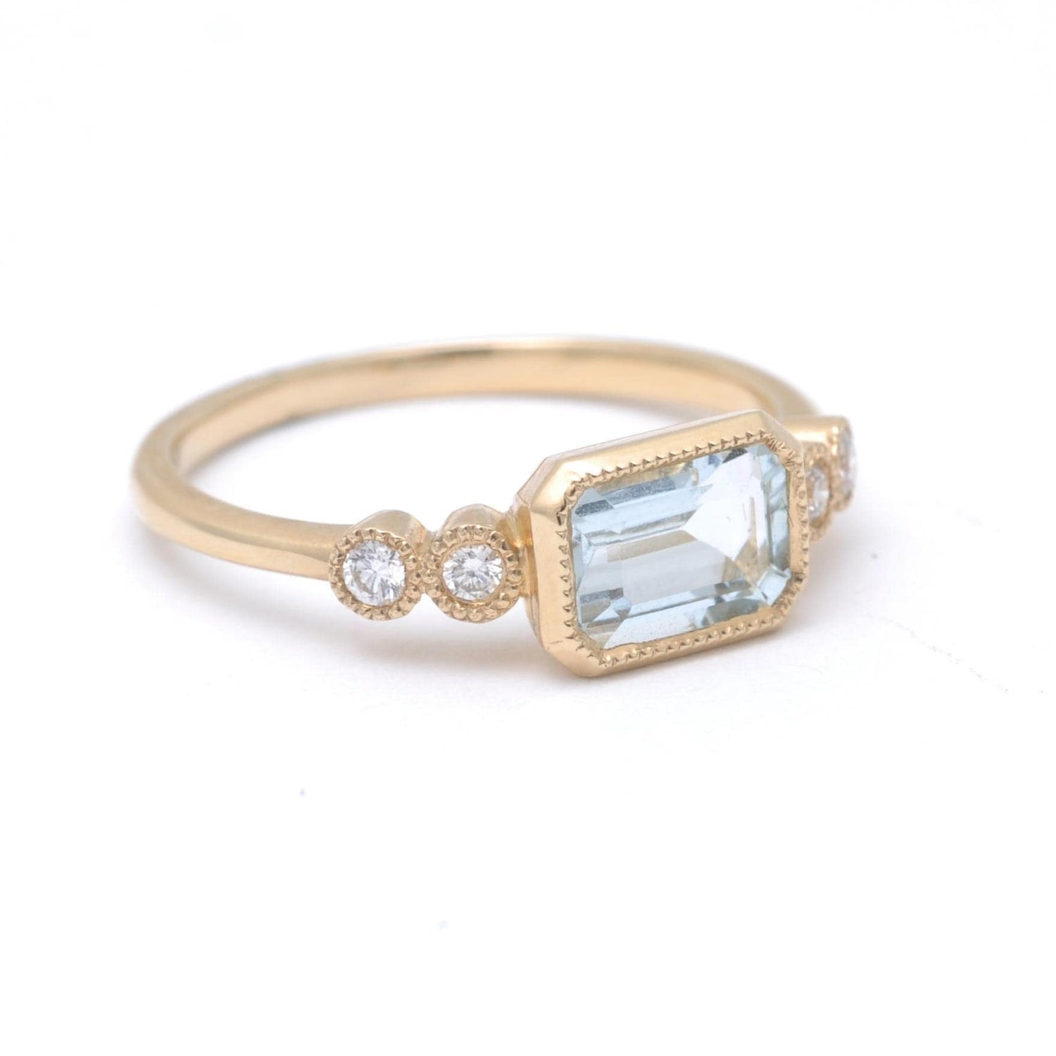 Aquamarine Diamond 14k Gold Ring