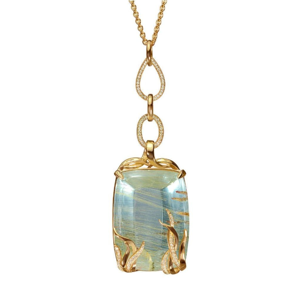 The Aquarium Rutilated Blue Topaz Diamond Necklace - Curated Los Angeles