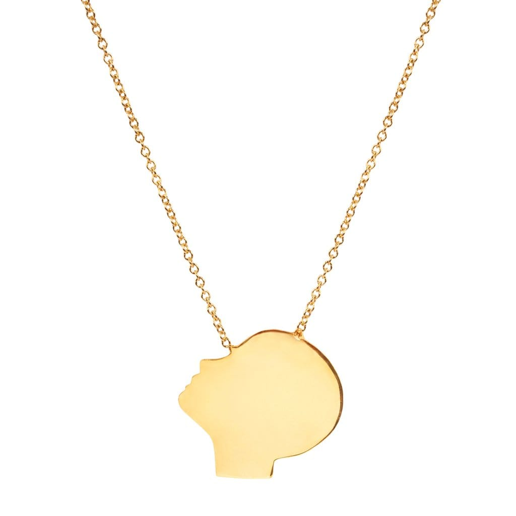 Yellow Gold Boy's Face Profile Necklace