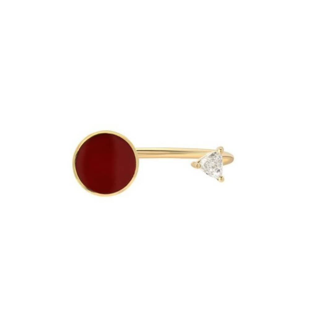 Bindi Diamond Red Enamel Open Ring - Curated Los Angeles