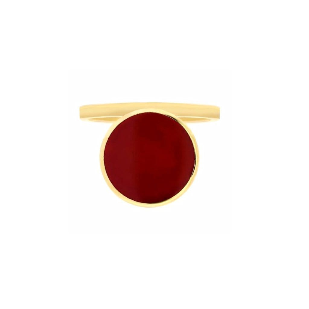 Bindi Big Red Enamel Yellow Gold Ring - Curated Los Angeles