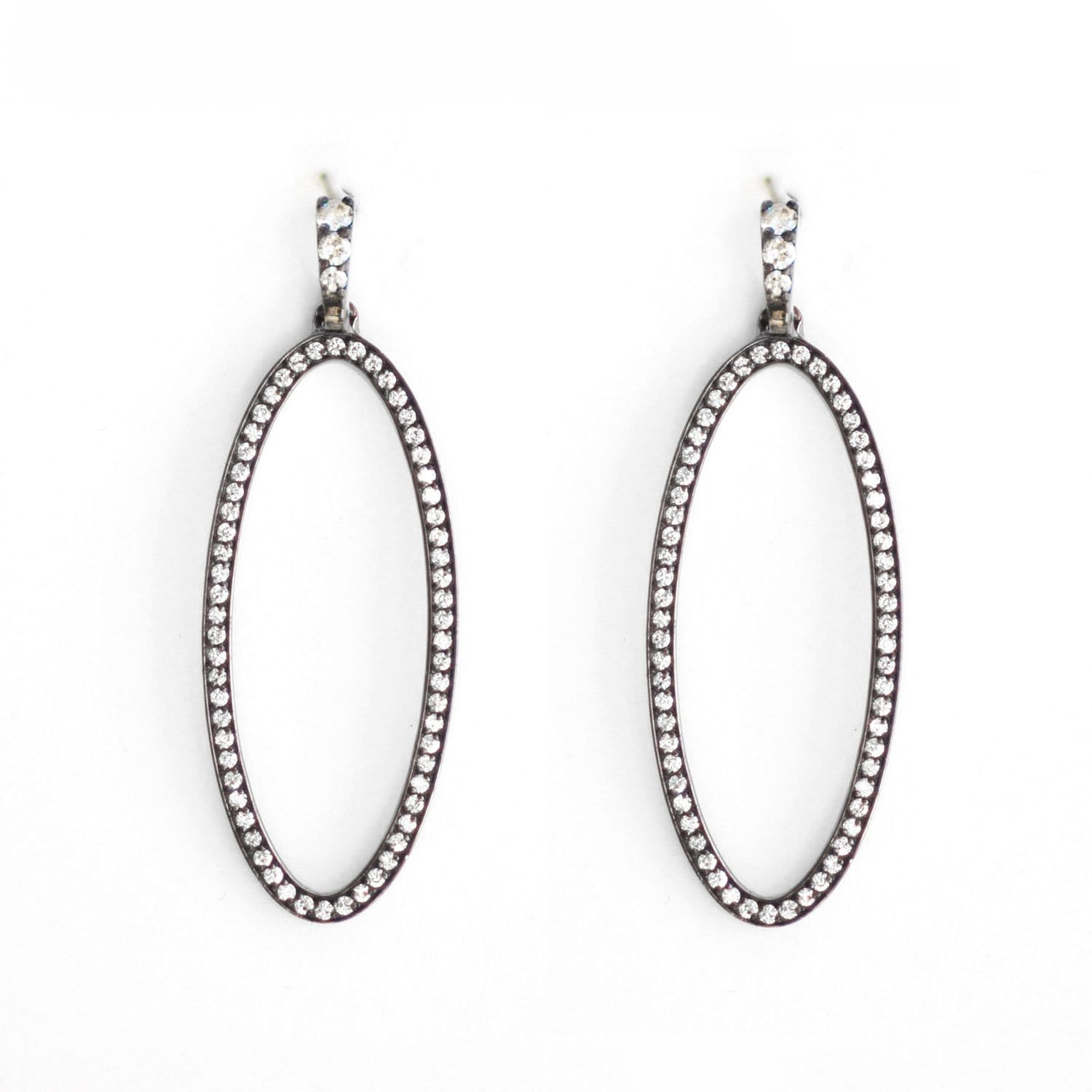 Diamond Oval Black Rhodium Long Drop Earrings