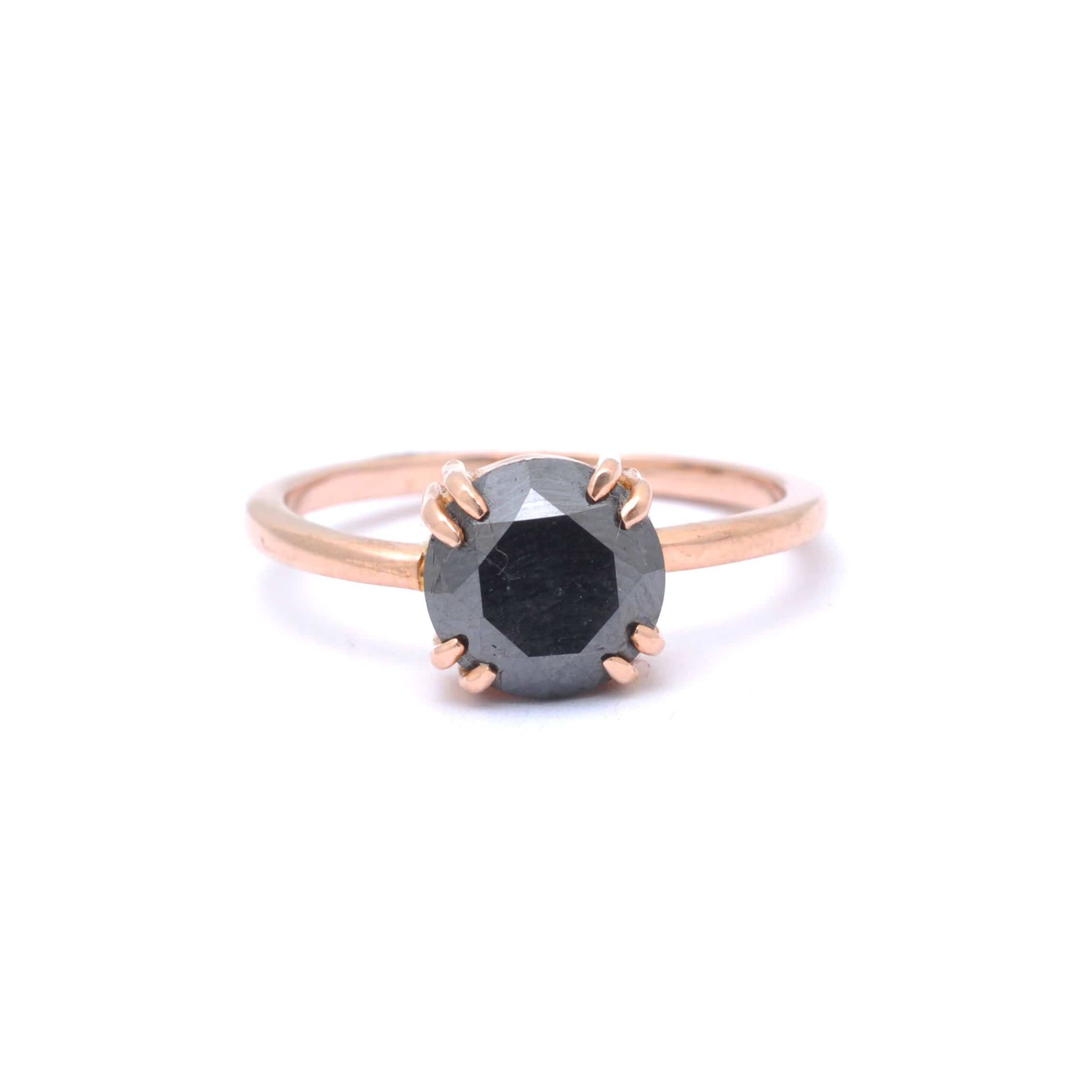 Black Diamond Rose Gold Alternative Engagement Ring