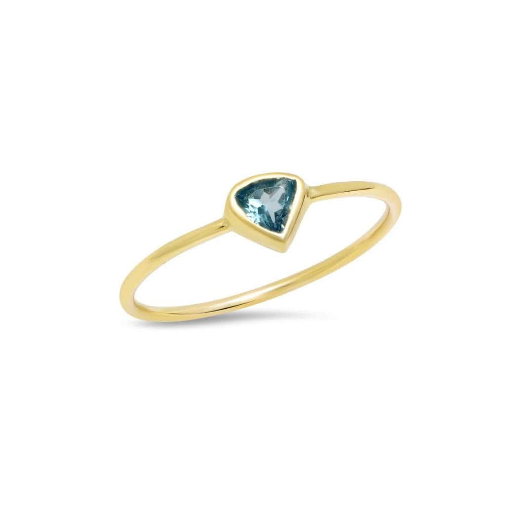 Caitlin Nicole Blue Topaz Trillion Cut Gold Bezel Ring