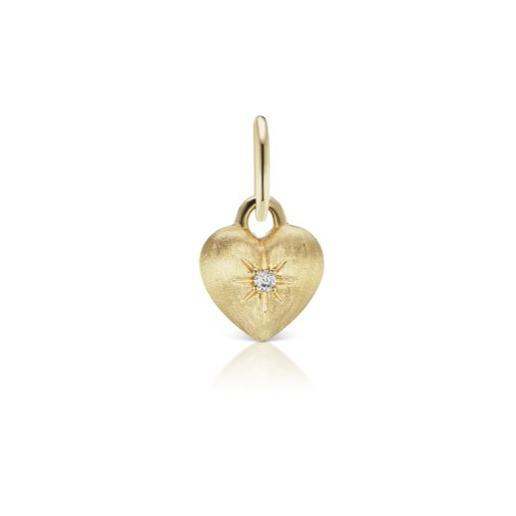 Diamond Puffy Heart Burshed Gold Charm