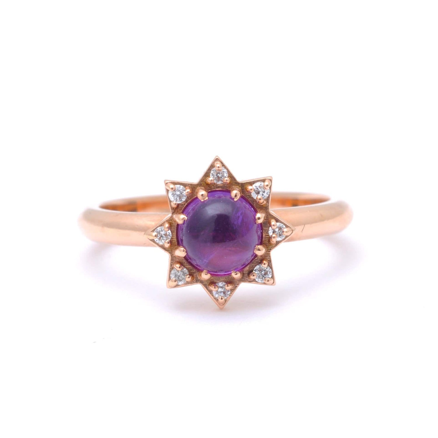 Amethyst Cabochon Diamond Starburst Ring