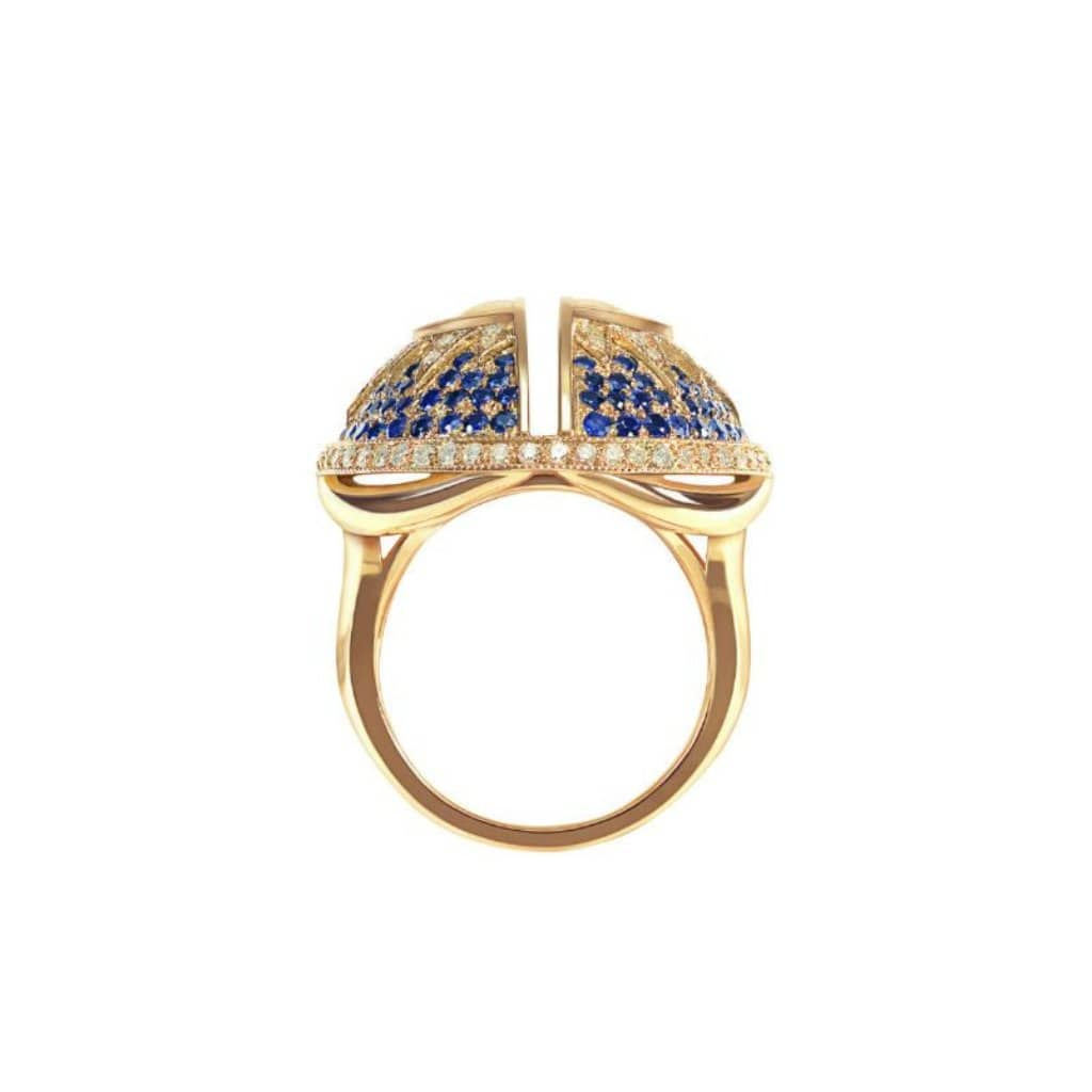 Split Moonstone Diamond Sapphire Cocktail Ring