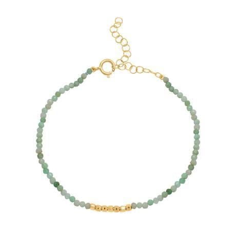 Green Chrysoprase Bead and Gold Bead Bracelet