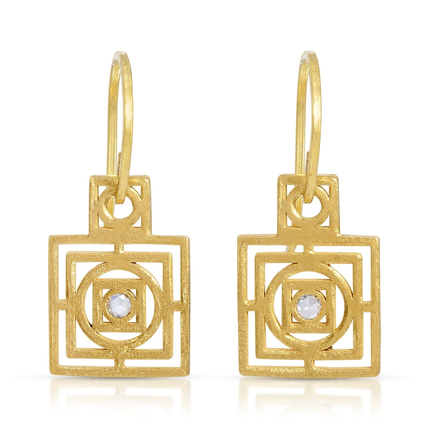 Diamond Circle in Square Gold Dangle Earrings