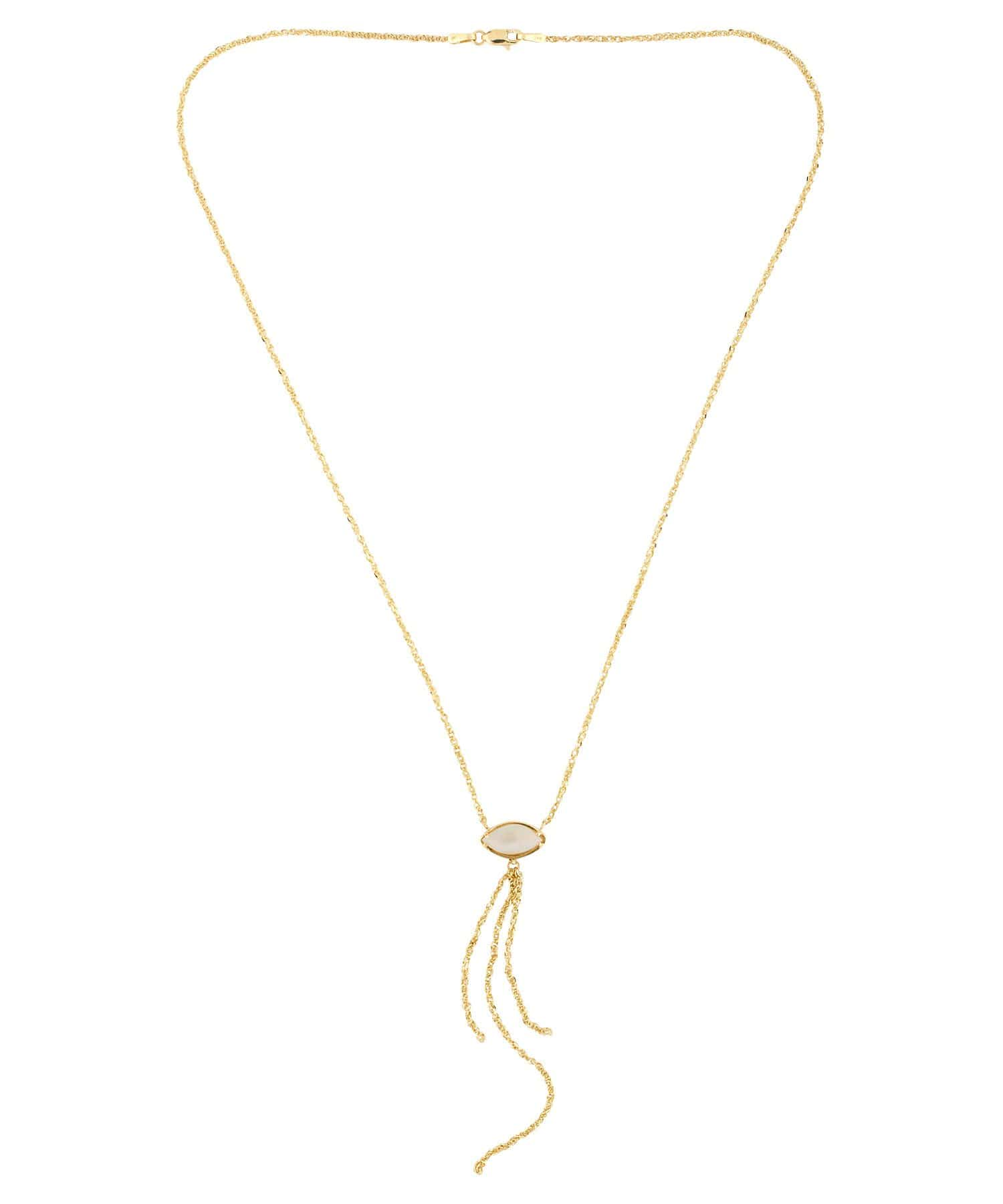 Opal Yellow Gold Tassel Chain Necklace