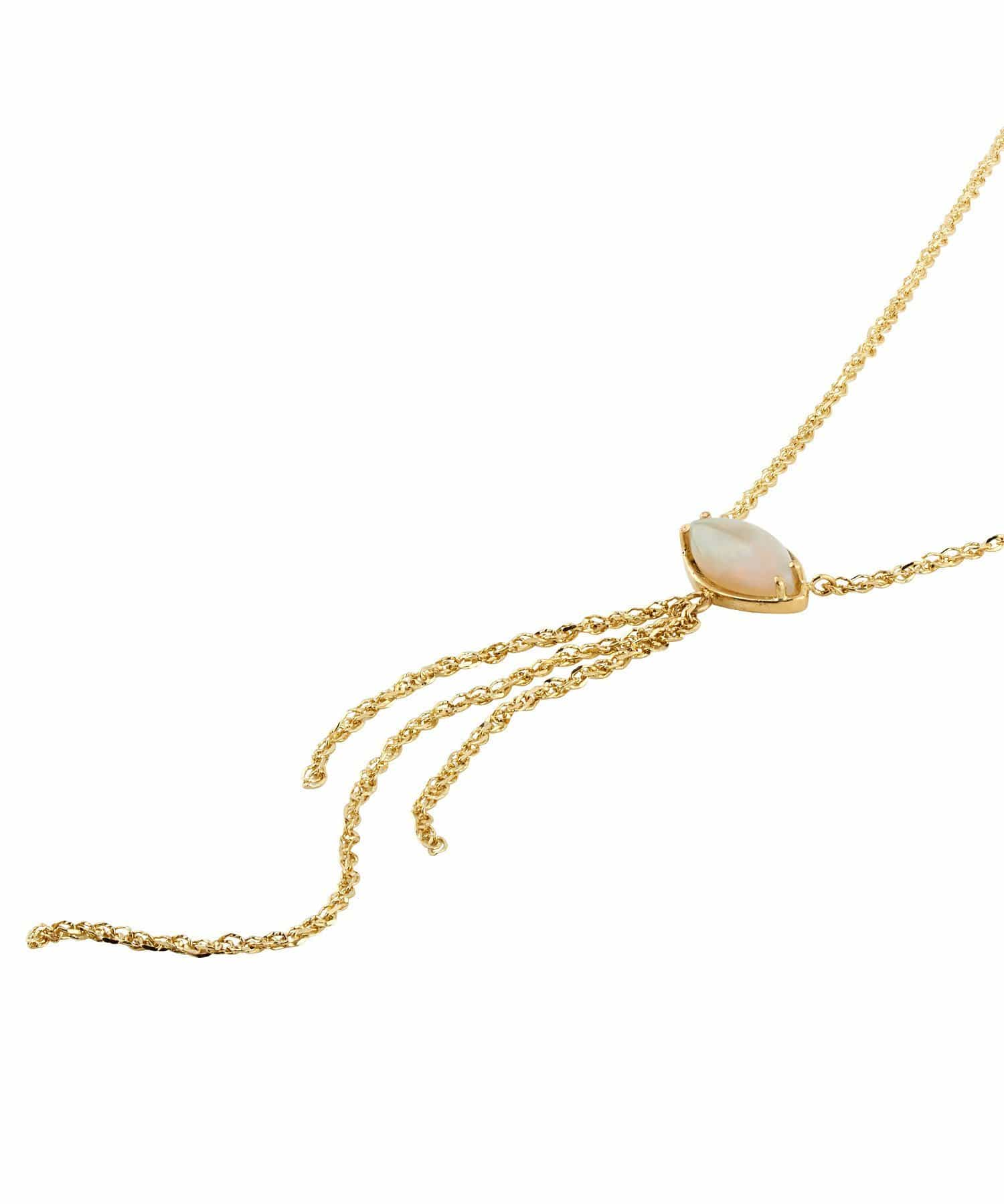 Opal Yellow Gold Tassel Chain Necklace - Curated Los Angeles