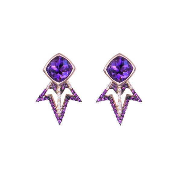 Amethyst Cabochon Pink Sapphire and Diamond Comet Earrings - Curated Los Angeles