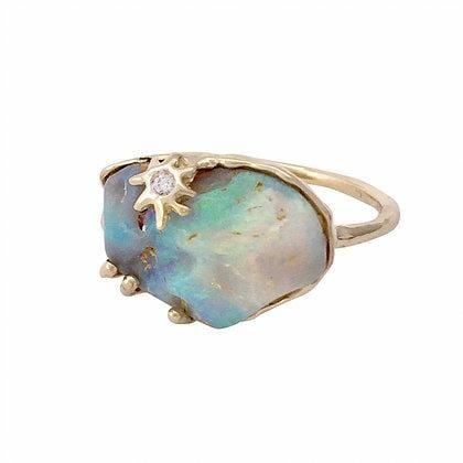 Large Opal Diamond Gold Coral Reef Ring
