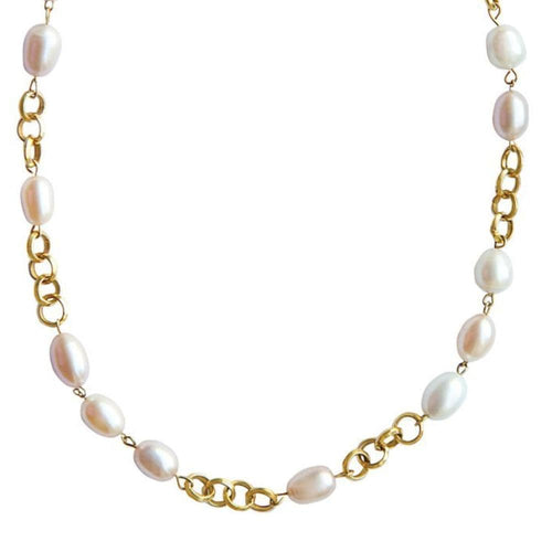 Pearl Yellow Gold Link Necklace