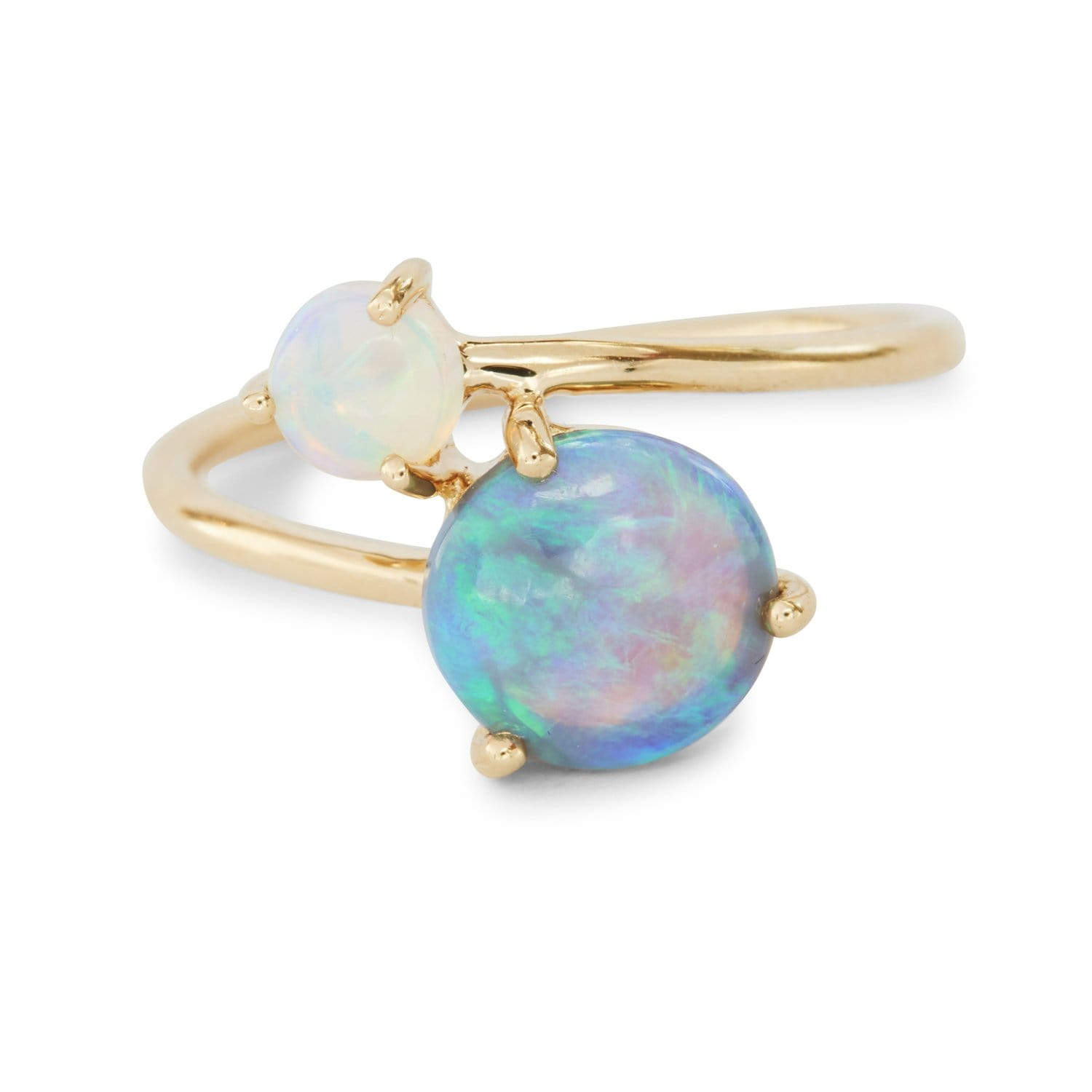 Double opal wrap ring from lightning ridge