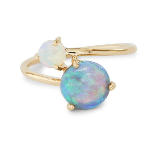 Double Opal Gold Bypass RIng