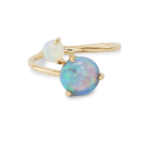 Blue Sapphire Opal Gold Ring