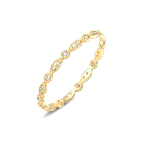 Deco Yellow Gold Diamond Eternity Stacking Ring