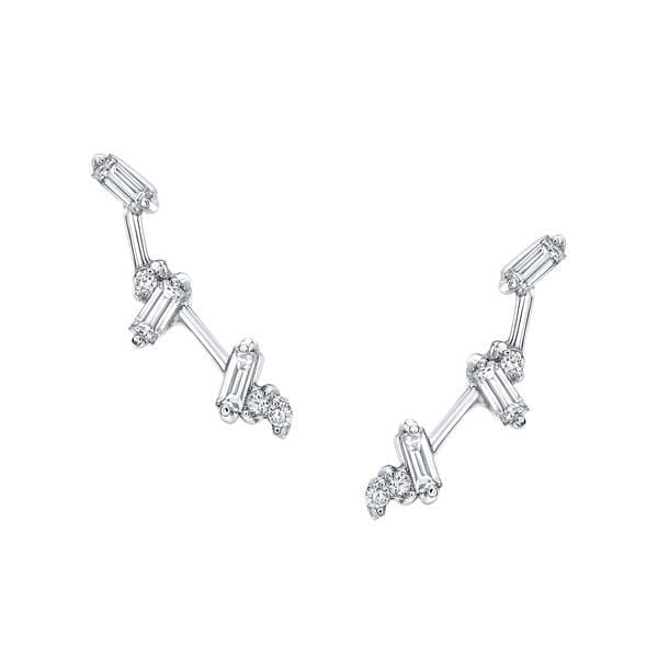 Diamond Baguette Cluster White Gold Climber Earrings