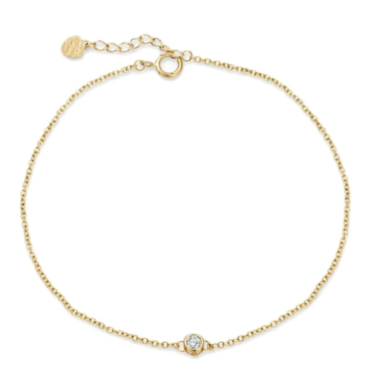 Diamond Yellow Gold Solitaire Bracelet