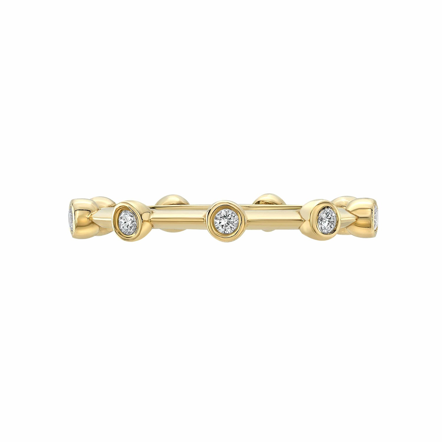Diamond Bezel Station Yellow Gold Ring