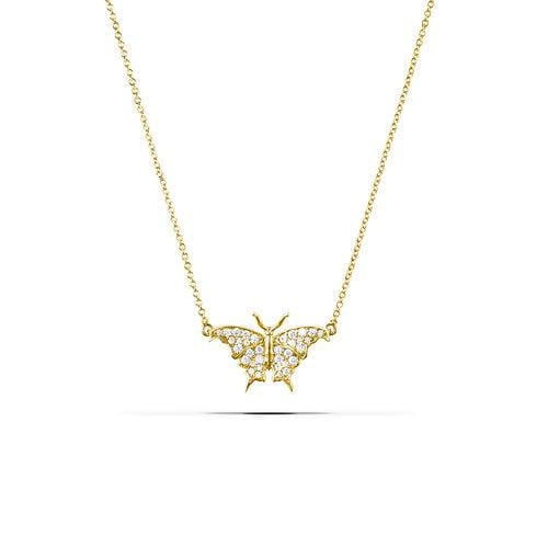 Large White Sapphire Butterfly Gold Plated Necklace - Curated Los Angeles