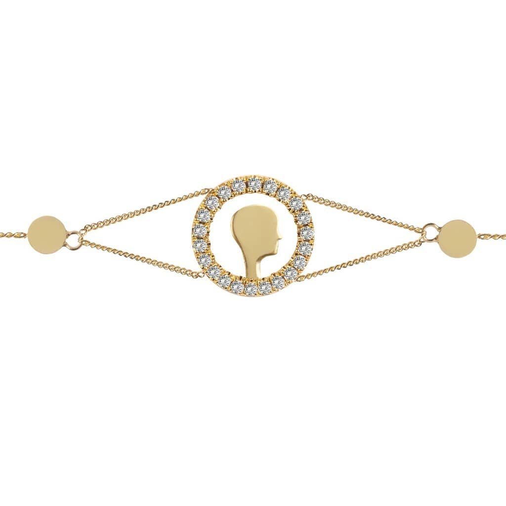 Diamond Circle Face Gold Chain Bracelet