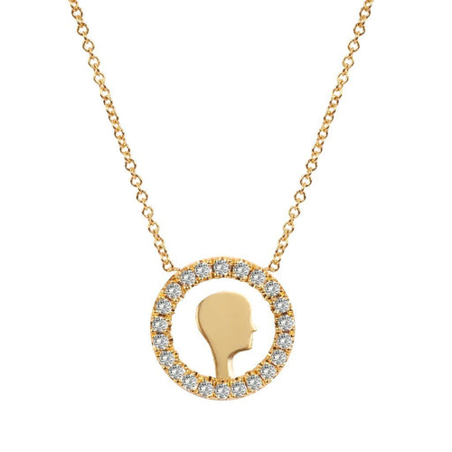 Diamond Circle Face Yellow Gold Necklace