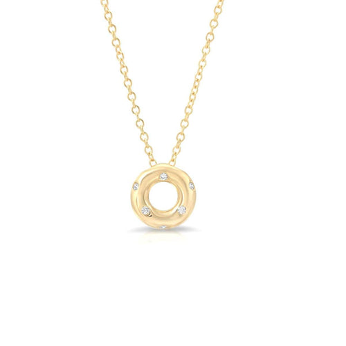 Diamond Circle Yellow Gold Necklace