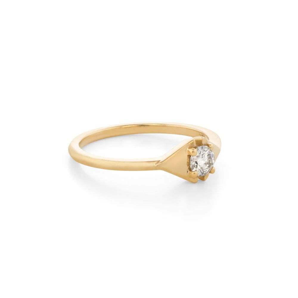Diamond Yellow Gold Triangle Porter Ring