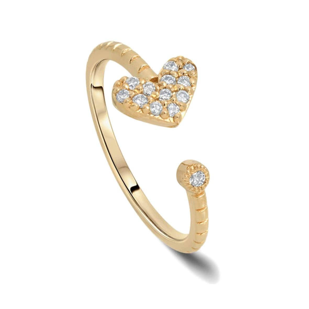 pave diamond heart open ring