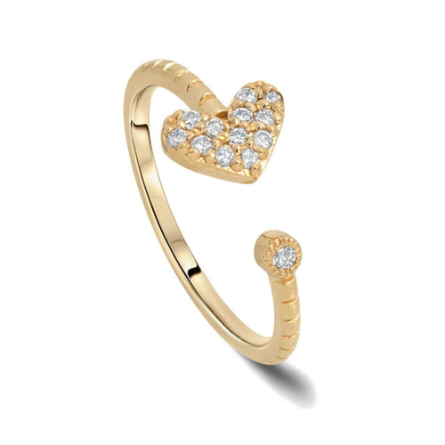 Diamond Pave Heart Open Cuff Ring