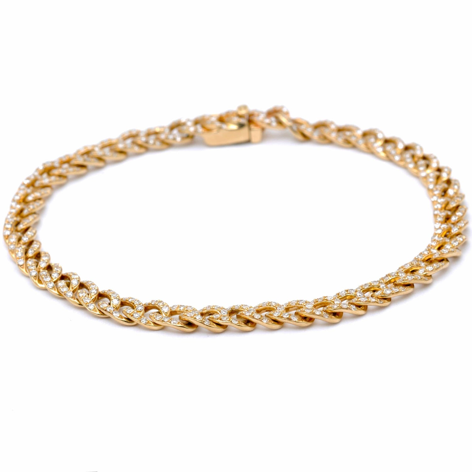 Diamond Pave Curb Link Gold Bracelet