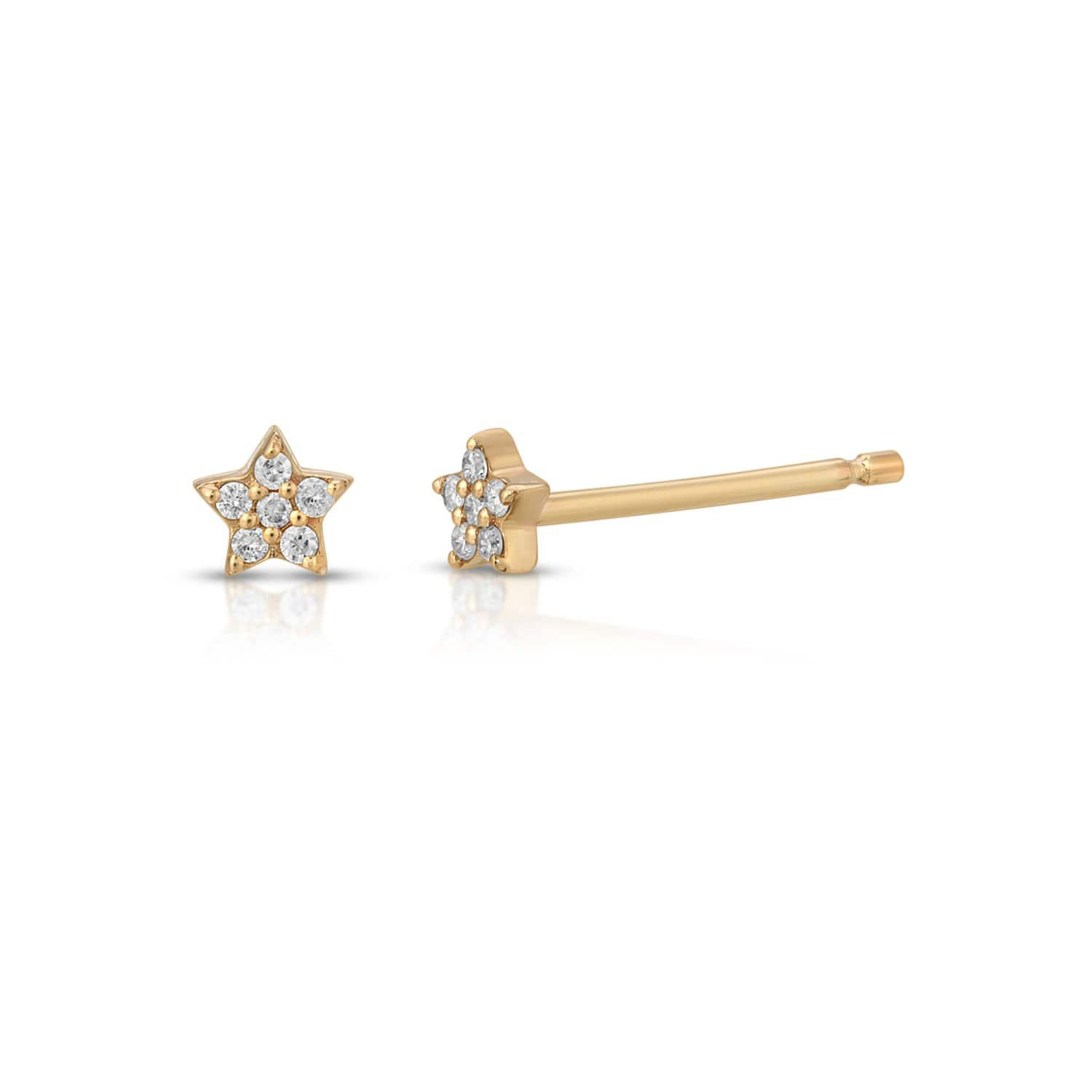 Diamond Pave Star Studs Gold Letreaime