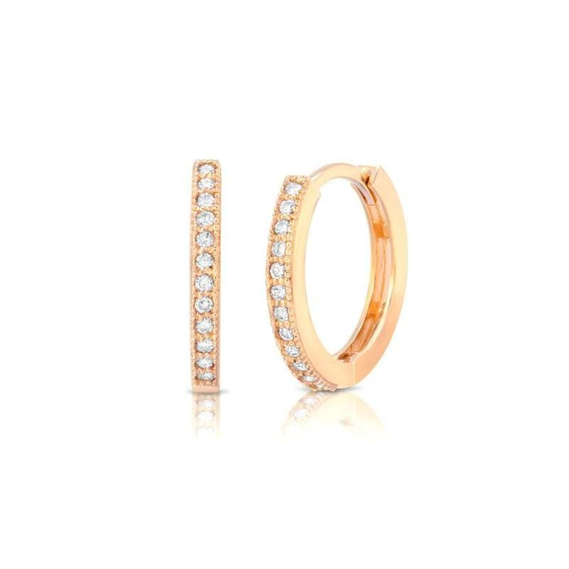 Diamond Rose Gold Huggie Earrings