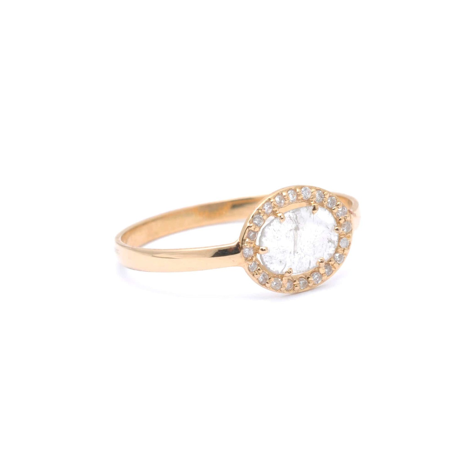 Diamond Slice Pave Gold Ring