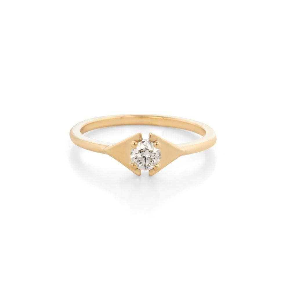 Diamond Yellow Gold Double Triangle Ring