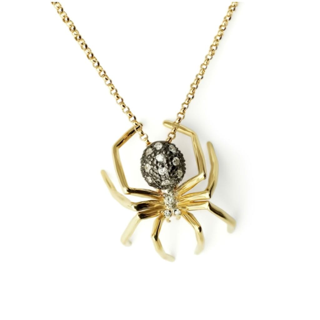 Medium Diamond Spider Two-tone Yellow Gold Necklace - Curated Los Angeles