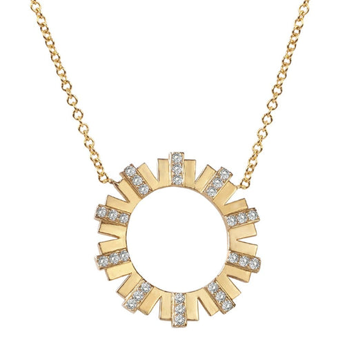 Diamond Sun Open Circle Necklace