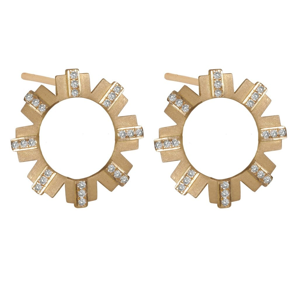 Diamond 18k gold sun studs
