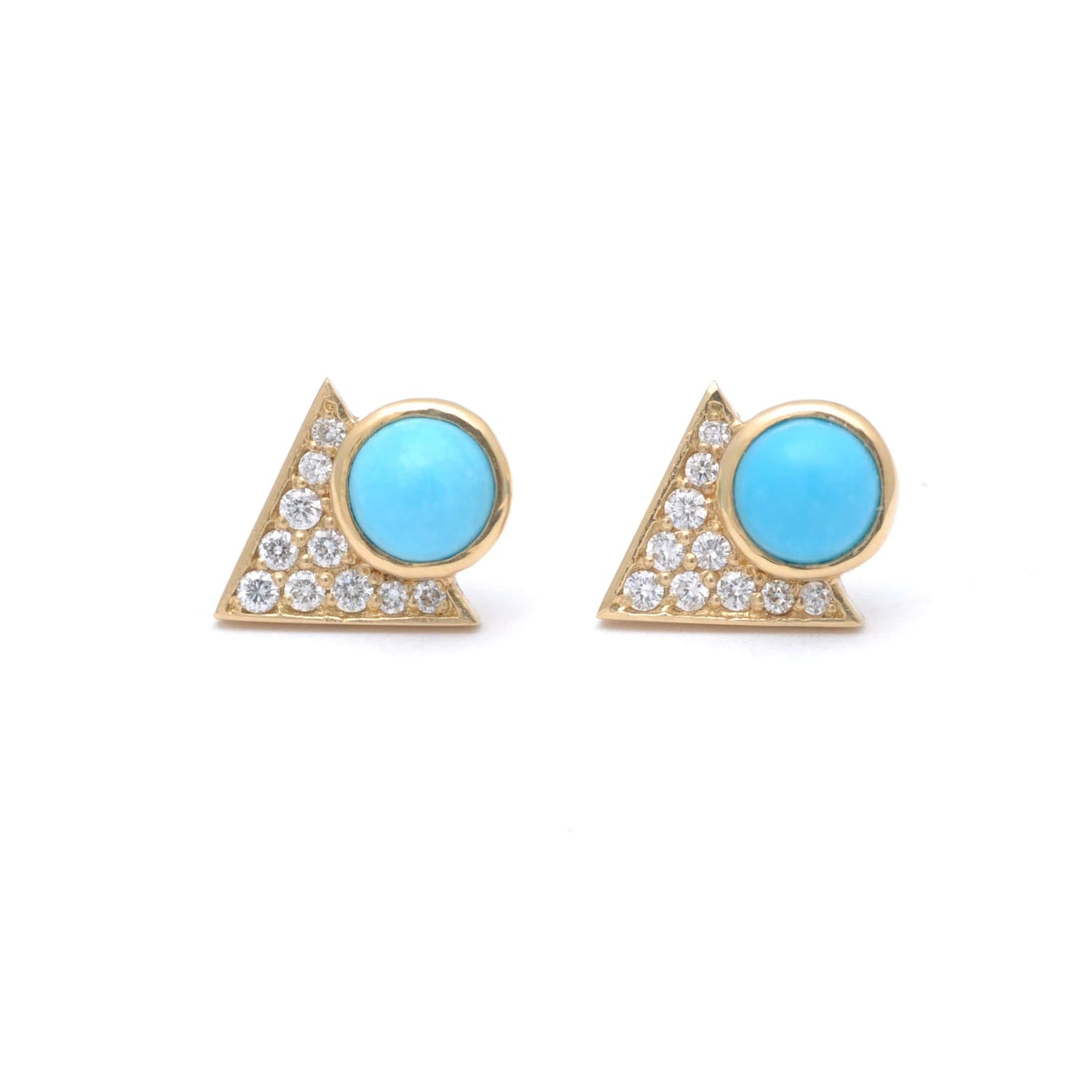 Turquoise Gold Pave Diamond Triangle Earrings