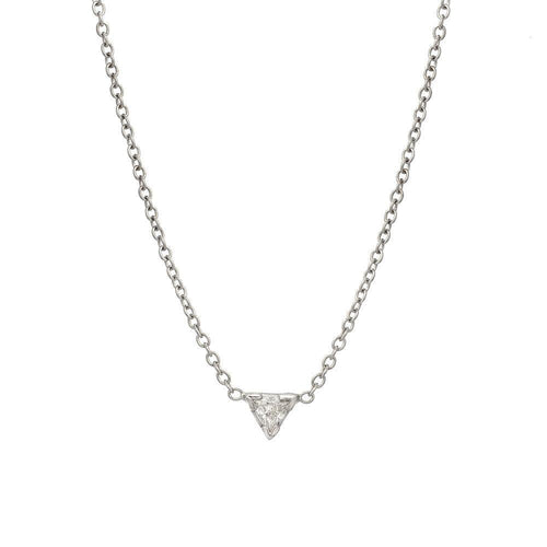 Trillion Diamond White Gold Solitaire Necklace - Curated Los Angeles