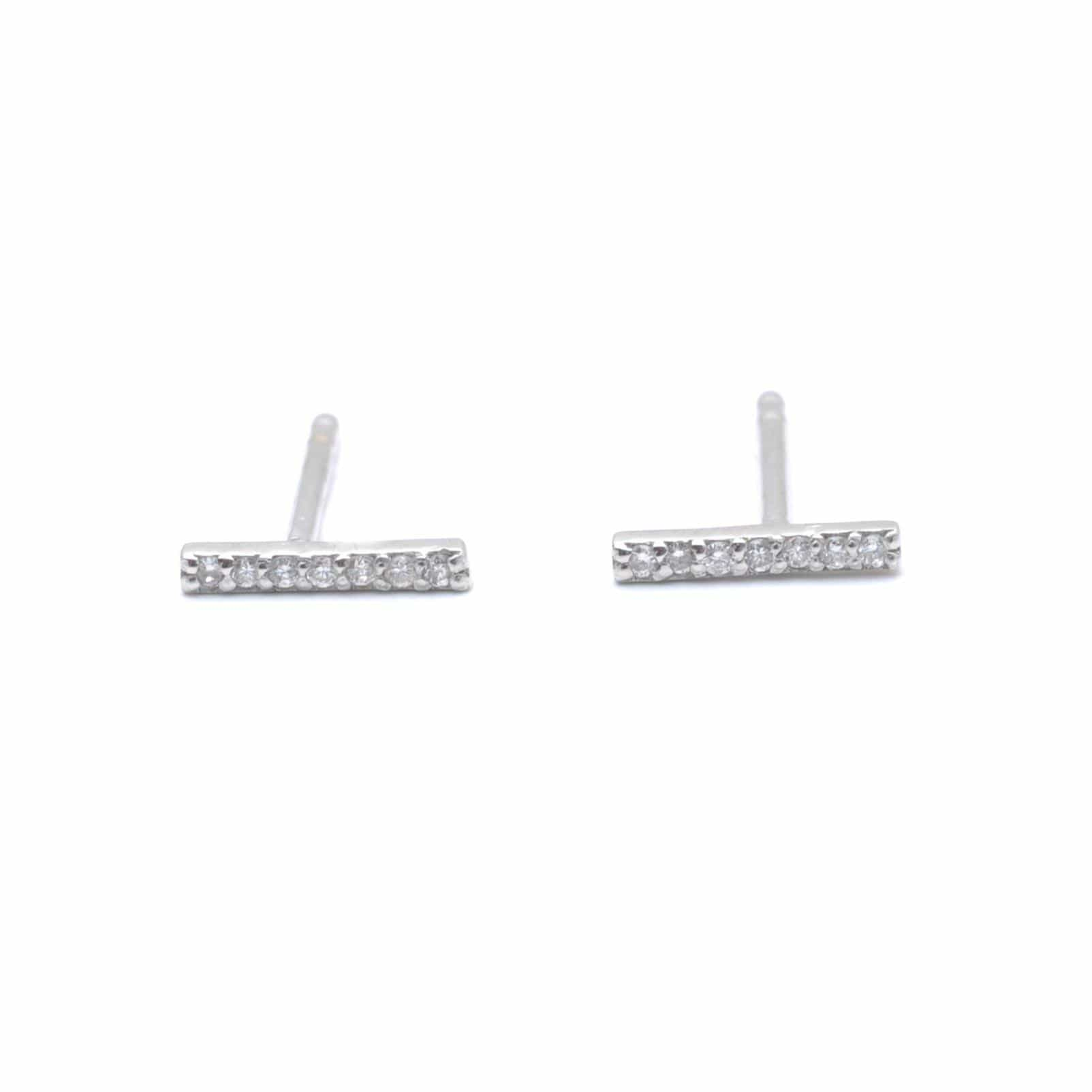 Diamond White Gold Short Bar Earrings