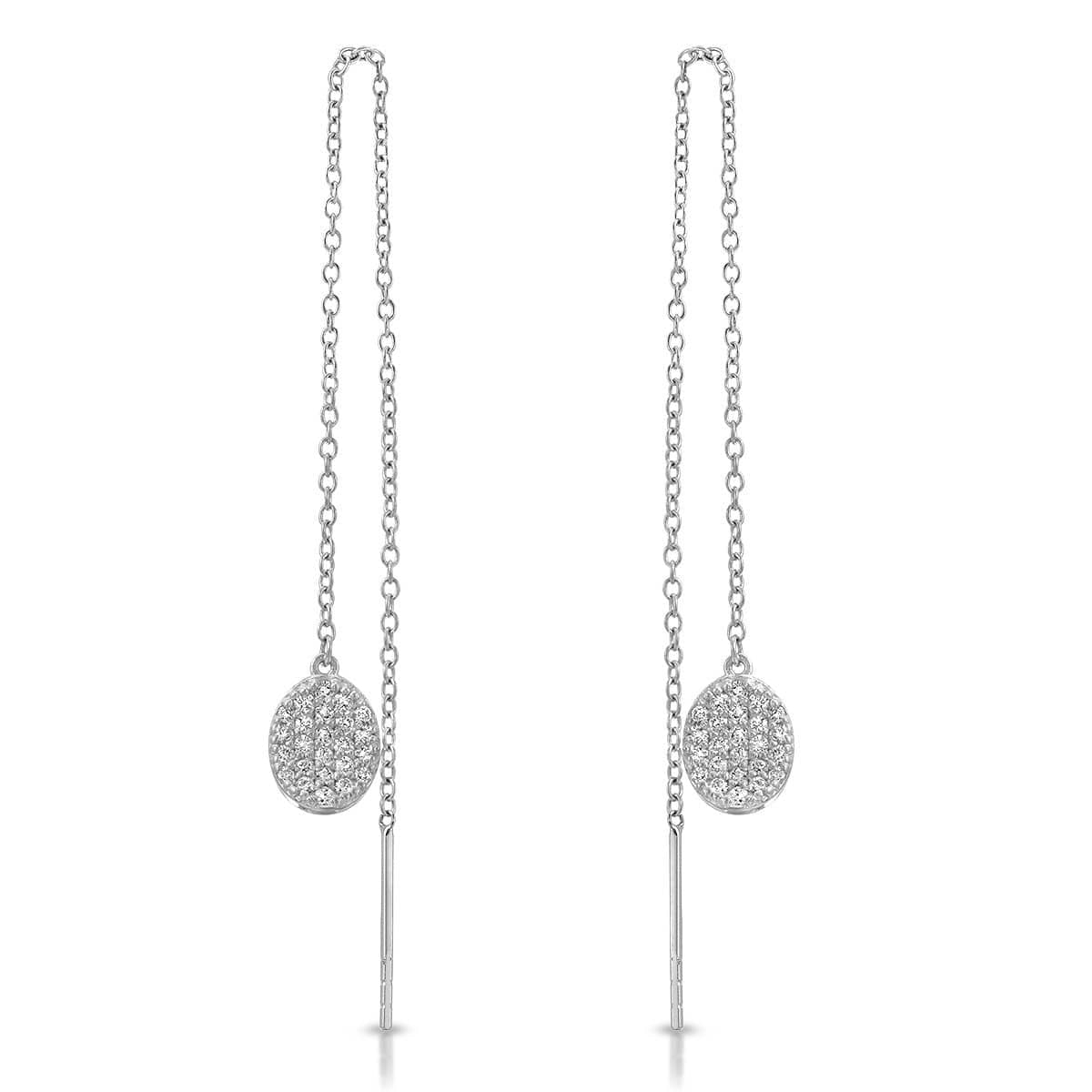 White Gold Diamond Pave Threader Earrings
