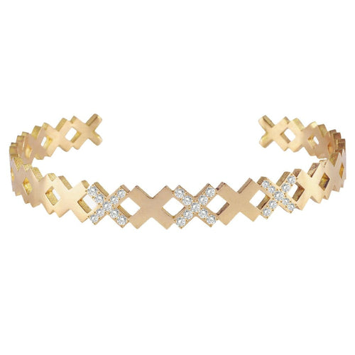 Diamond X Yellow Gold Cuff