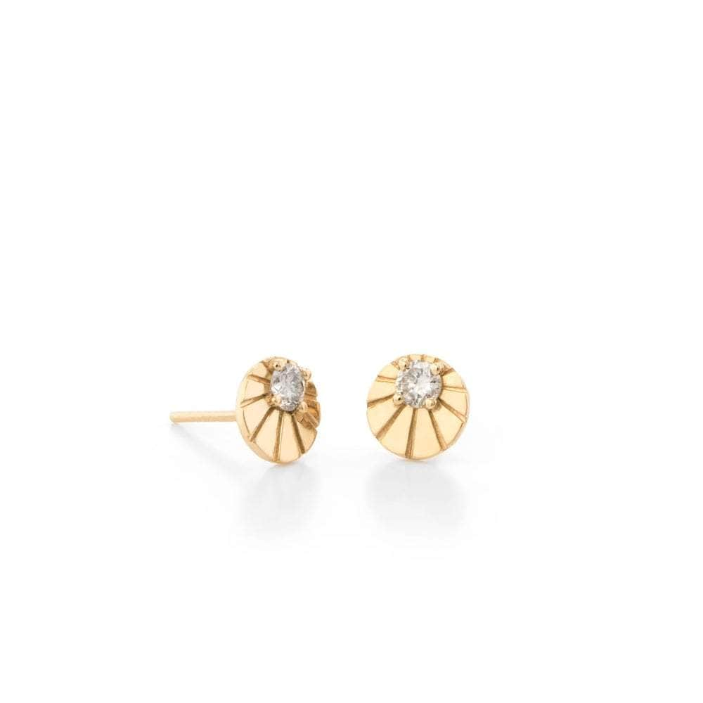 Diamond Gold Circle Sunray Studs Larisa Laivins