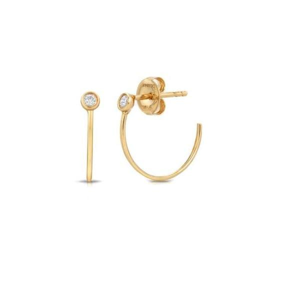 Diamond Yellow Gold Half Hoops Letreaime