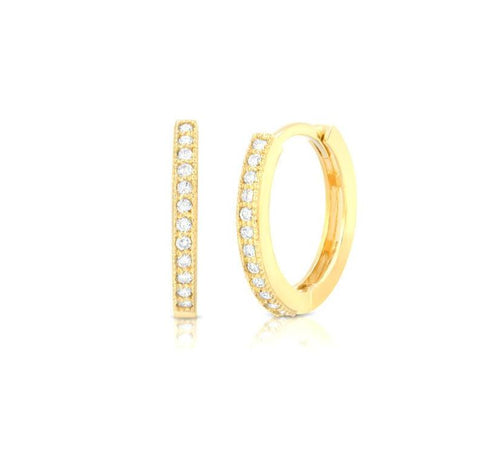 Diamond Yellow Gold Huggies